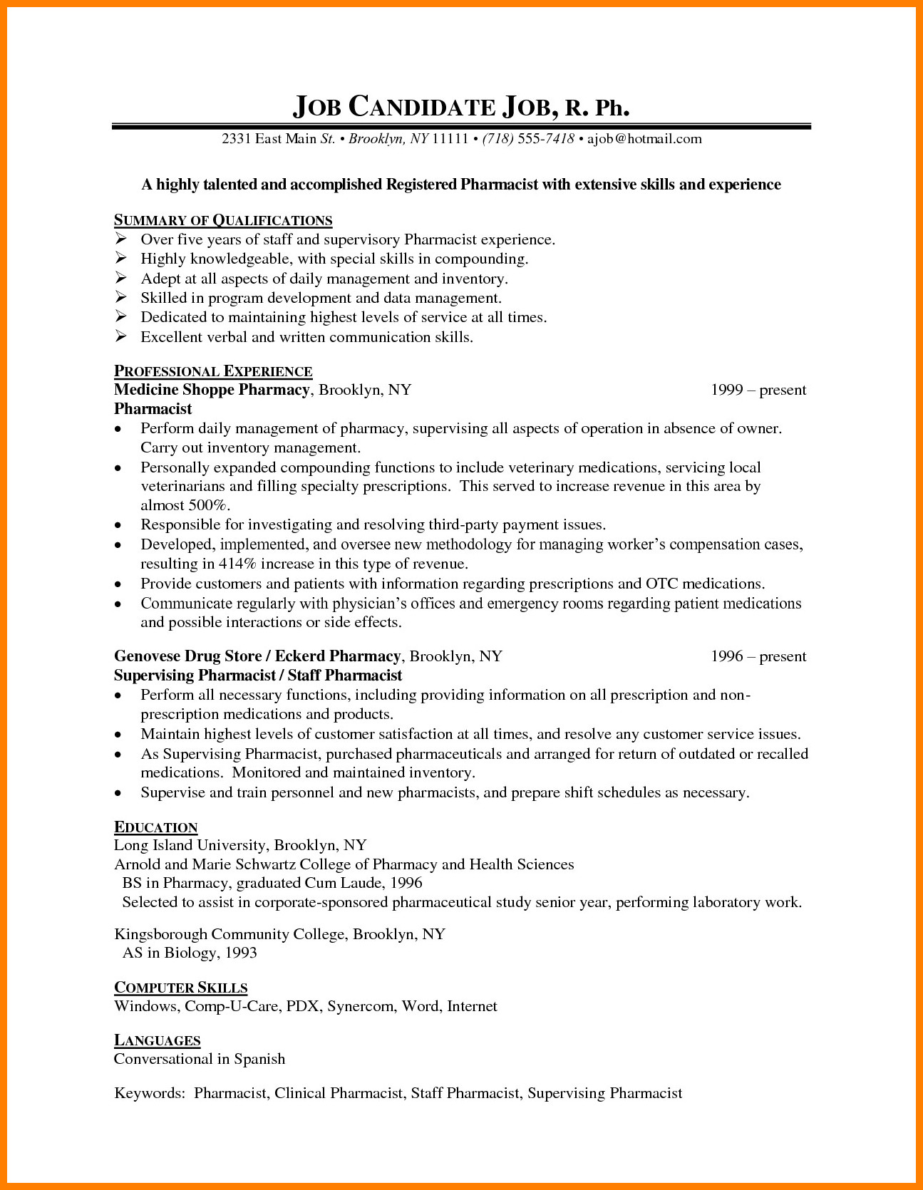 Pharmacy Curriculum Vitae Examples 8 Cv Sample for Pharmacist