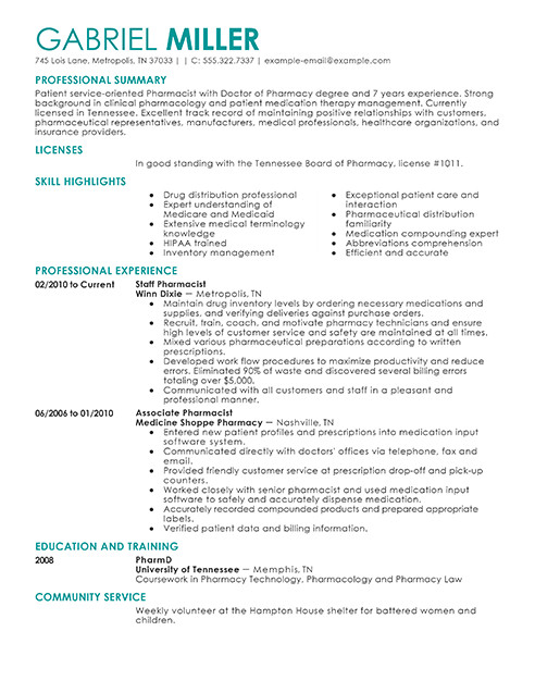 Pharmacy Curriculum Vitae Examples Best Pharmacist Resume Example
