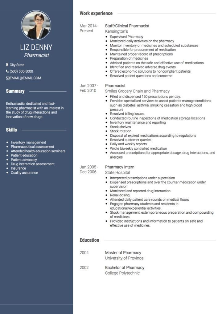 Pharmacy Curriculum Vitae Examples Pharmacist Cv Examples and Template