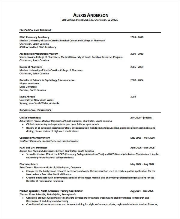 Pharmacy Curriculum Vitae Examples Pharmacist Resume Template 6 Free Word Pdf Document