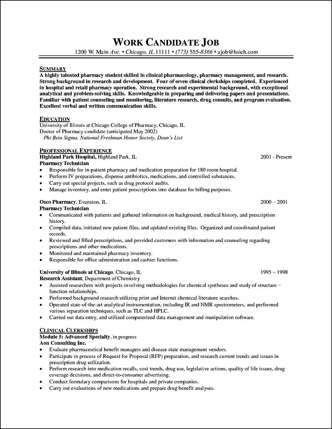 Pharmacy Curriculum Vitae Examples Pharmacy Curriculum Vitae Example Free Samples