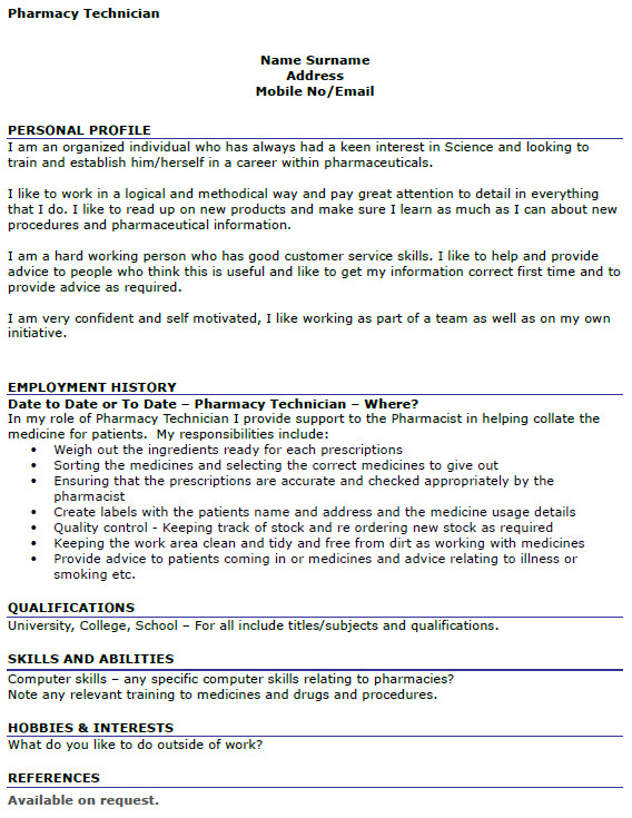 Pharmacy Curriculum Vitae Examples Pharmacy Technician Cv Example Icover