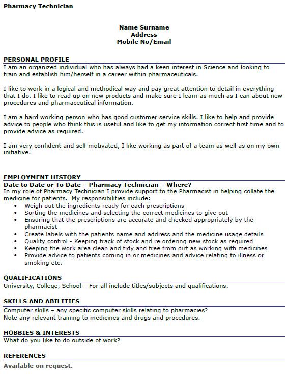 Pharmacy Curriculum Vitae Examples Pharmacy Technician Cv Example Icover