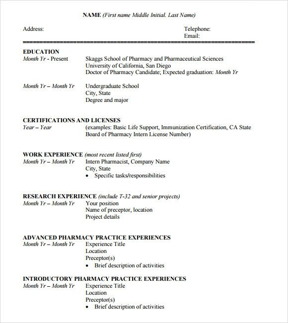 Pharmacy Curriculum Vitae Examples Sample Student Cv Template 9 Download Free Documents In