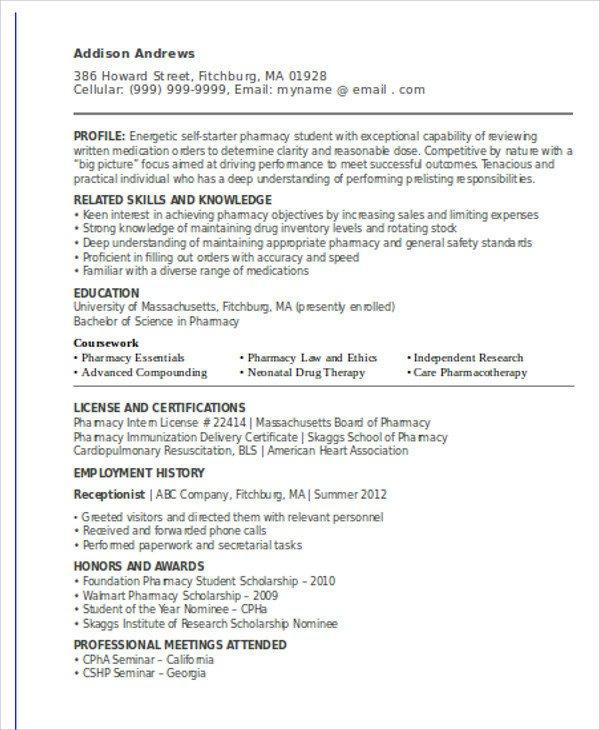 Pharmacy Curriculum Vitae Template 10 Sample Internship Curriculum Vitae Templates Pdf