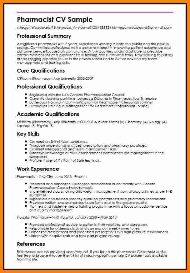 Pharmacy Curriculum Vitae Template 6 Cv Pharmacy Student