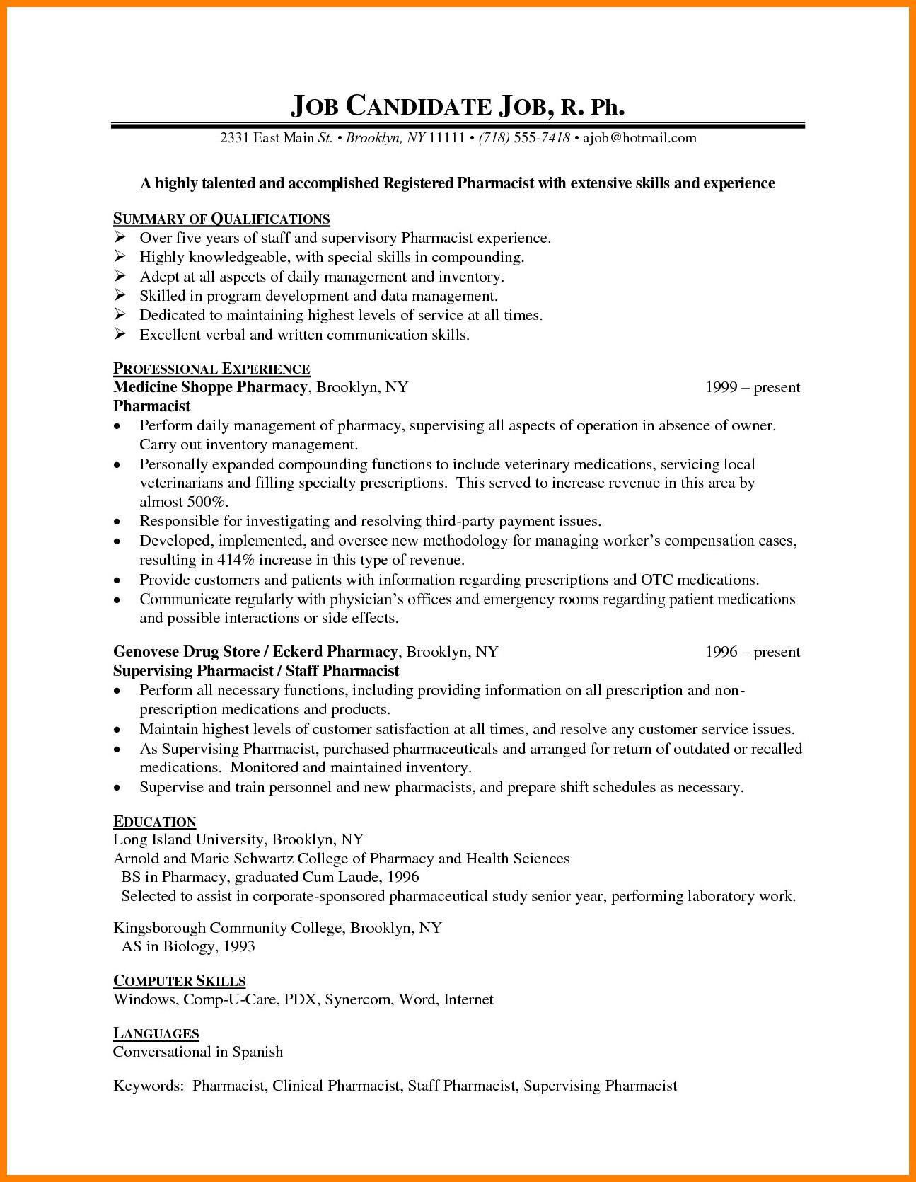 Pharmacy Curriculum Vitae Template 8 Cv Sample for Pharmacist