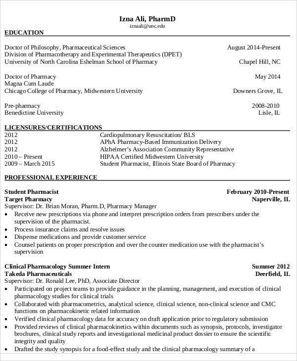 Pharmacy Curriculum Vitae Template Curriculum Vitae Template for Pharmacist – Guatemalago