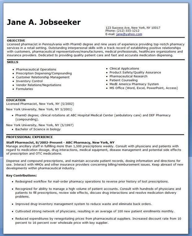 Pharmacy Curriculum Vitae Template Pharmacist Resume Sample