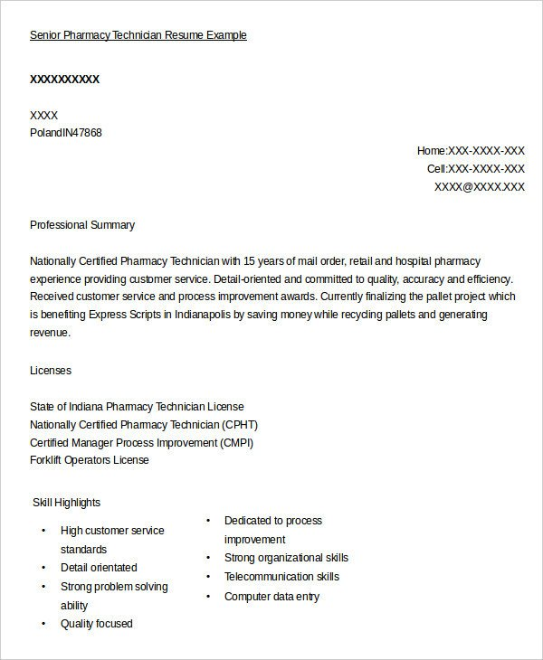 Pharmacy Technician Resume Sample 10 Pharmacy Technician Resume Templates Pdf Doc