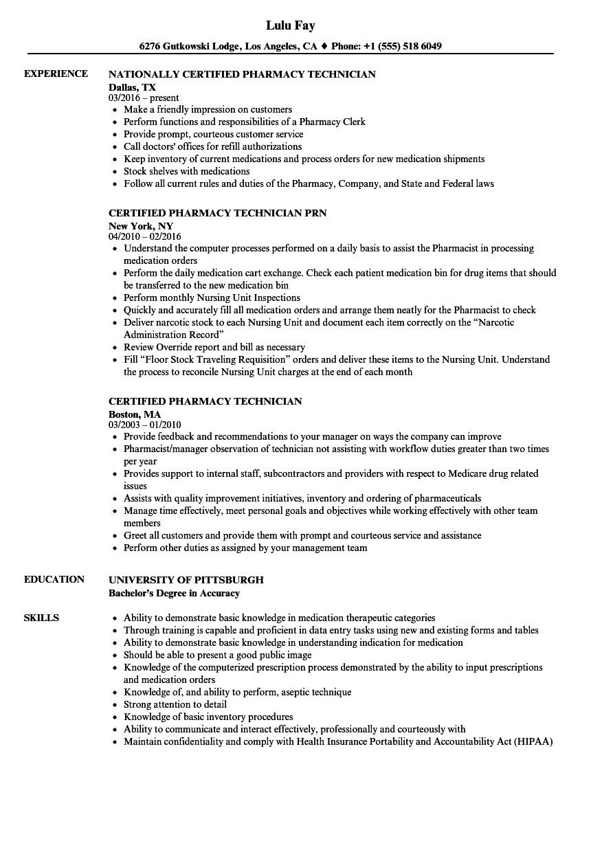 Pharmacy Technician Resume Sample Certified Pharmacy Technician Resume Samples