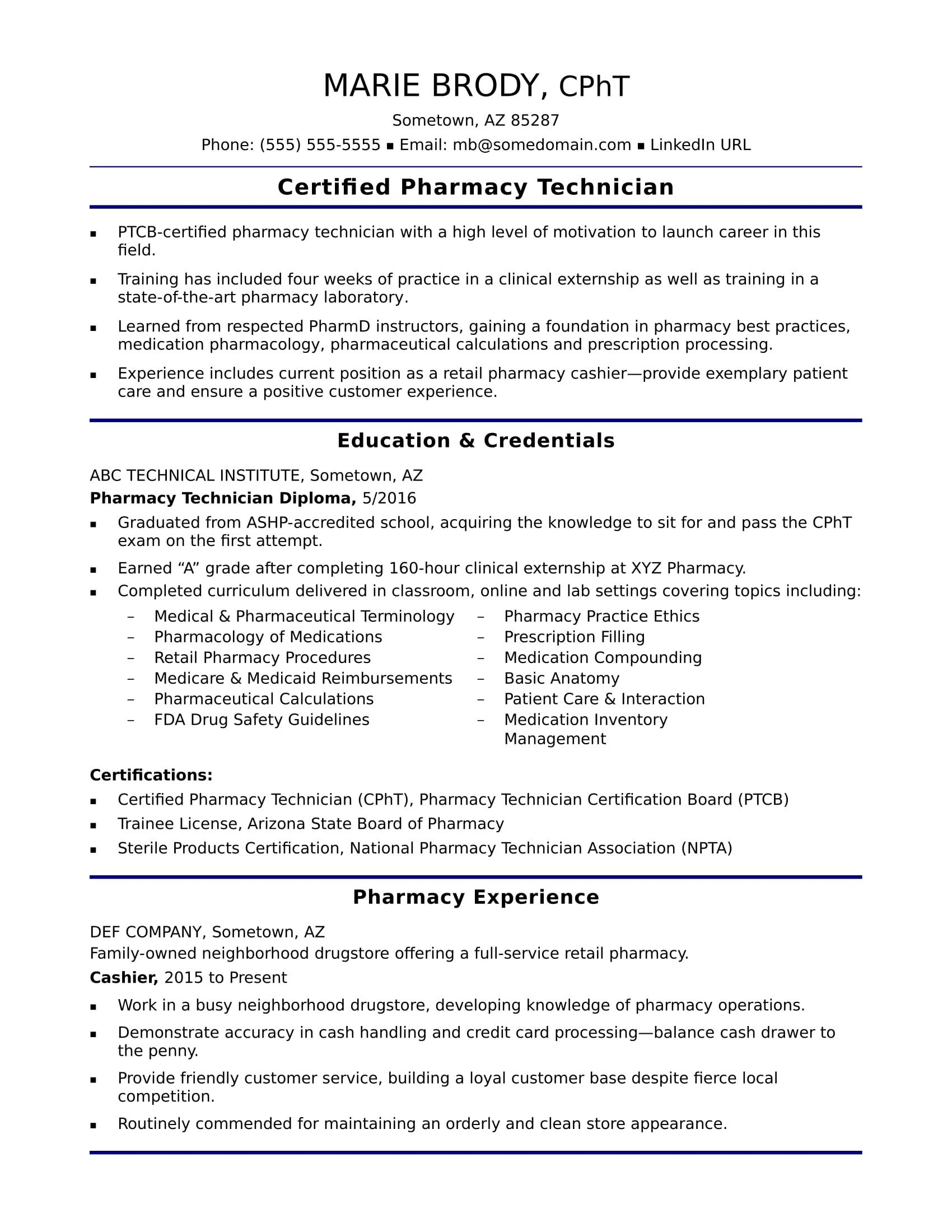 Pharmacy Technician Resume Sample Entry Level Pharmacy Technician Resume Sample