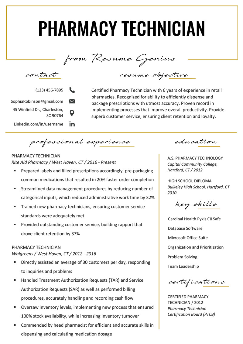 Pharmacy Technician Resume Sample Pharmacy Technician Resume Example & Writing Tips