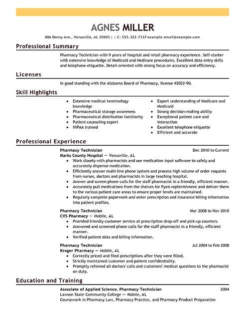 Pharmacy Technician Resume Sample Pharmacy Technician Resume Examples