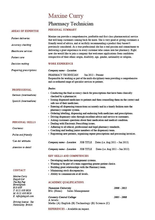 Pharmacy Technician Resume Sample Pharmacy Technician Resume Medicine Sample Example