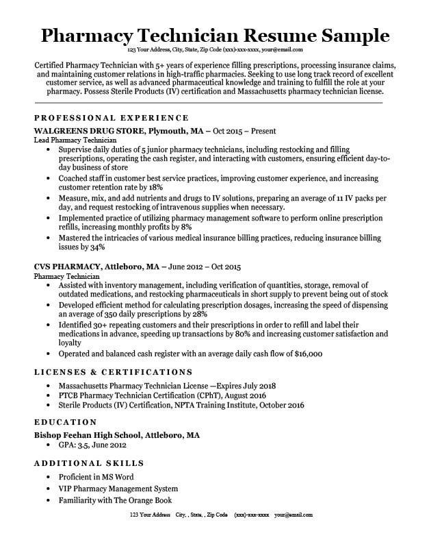 Pharmacy Technician Resume Sample Pharmacy Technician Resume Sample & Tips