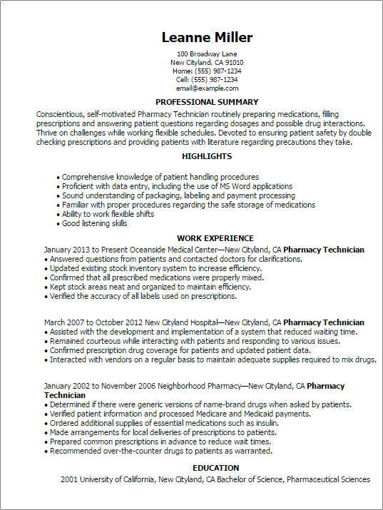 Pharmacy Technician Resume Sample Professional Pharmacy Technician Templates to Showcase