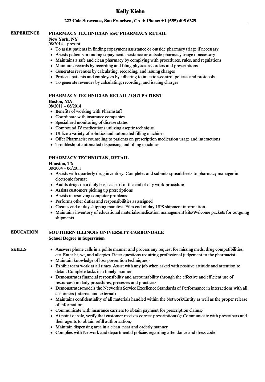 Pharmacy Technician Resume Sample Retail Pharmacy Technician Resume Samples