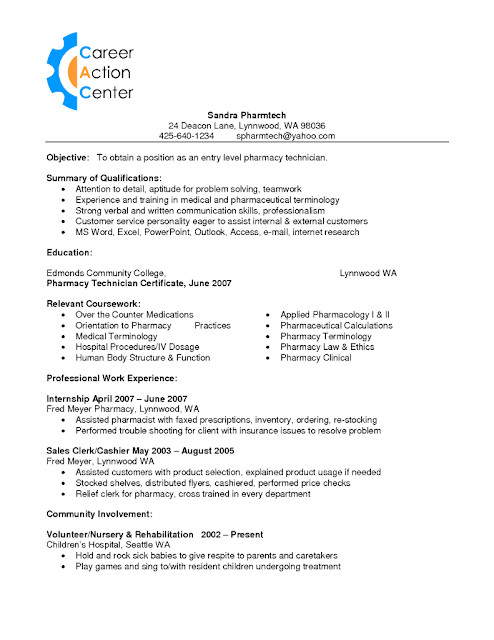 Pharmacy Technician Resume Sample Sample Of Pharmacy Technician Resume