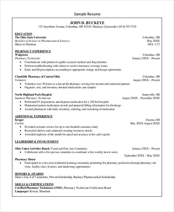 Pharmacy Technician Resume Sample Sample Pharmacy Technician Resume 7 Examples In Word Pdf
