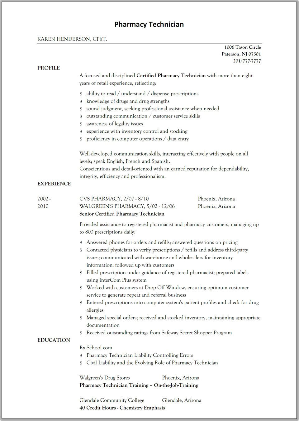 Pharmacy Technician Resume Sample Sample Resume for Pharmacy Technician