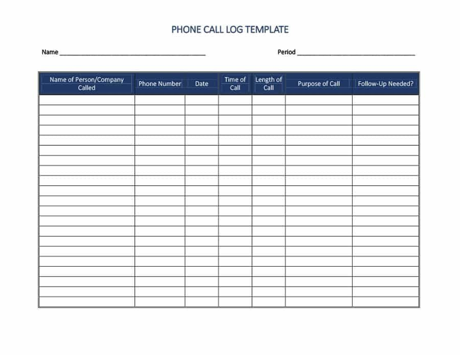 Phone Call Log Template 40 Printable Call Log Templates In Microsoft Word and Excel