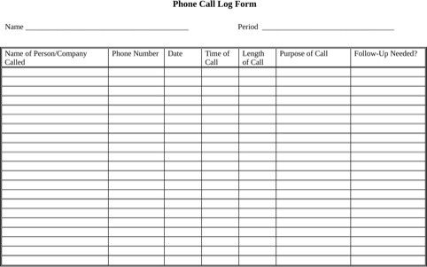 Phone Call Log Template Phone Call Log form Templates&forms