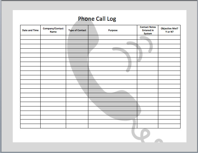 Phone Call Log Template Phone Call Log Template Microsoft Fice Templates