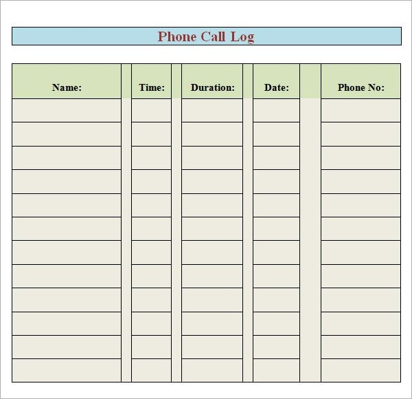 Phone Call Log Template Phone Log Template 7 Free Pdf Doc Download