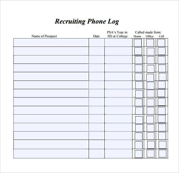 Phone Call Log Template Phone Log Template 8 Free Word Pdf Documents Download