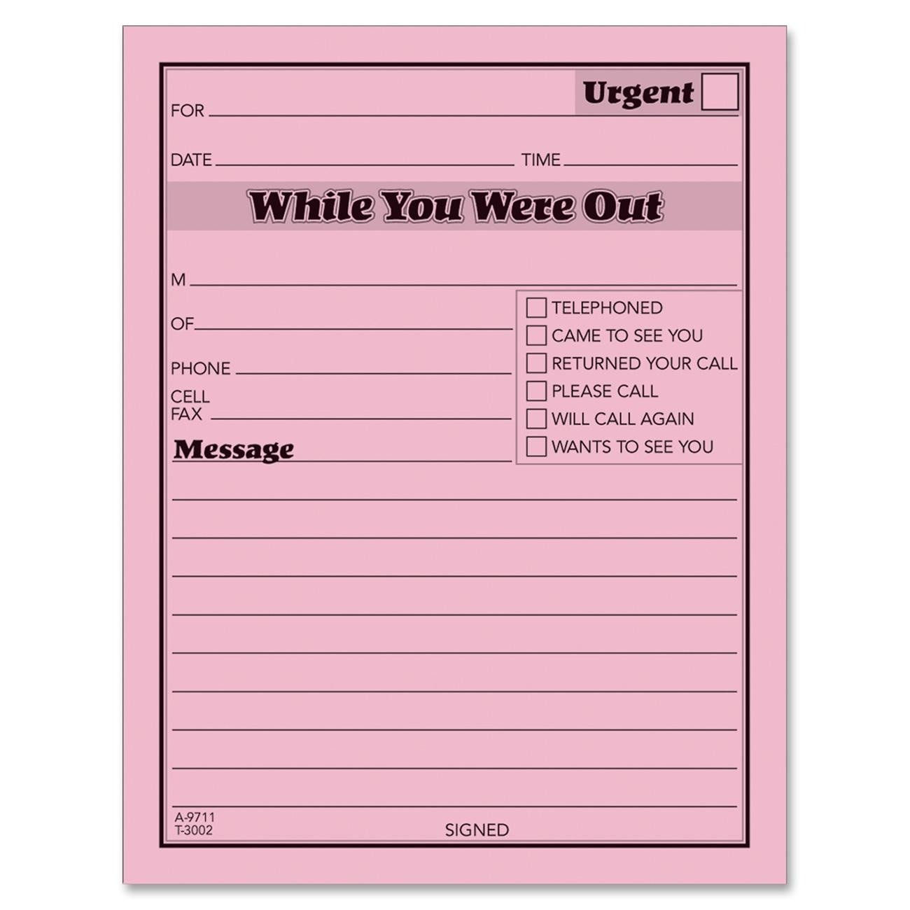 Phone Message Pad Template Phone Message Template