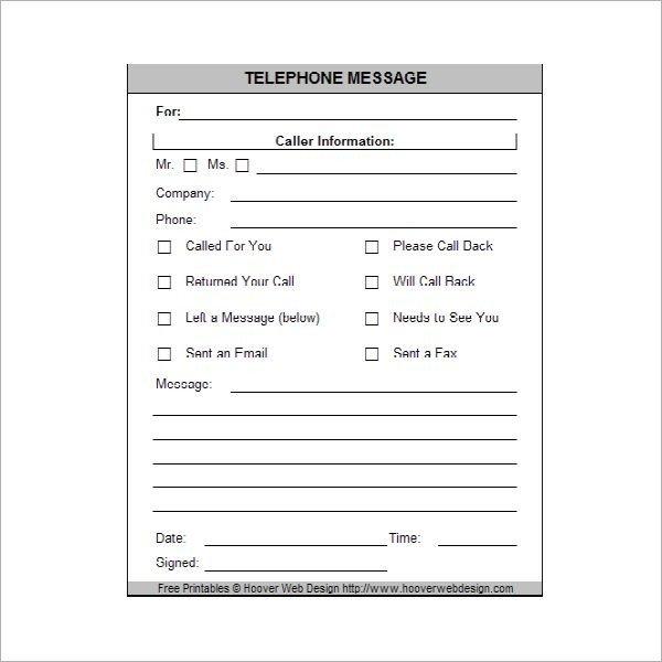 Phone Message Pad Template Printable Phone Message Memo Pads