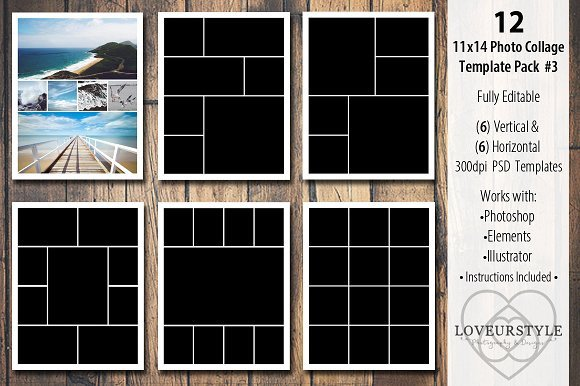 Photo Collage Templates Free Download 11x14 Collage Template Pack 3 Templates On