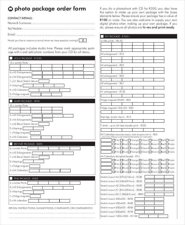 Photo order form Template 12 Package order forms Free Sample Example format