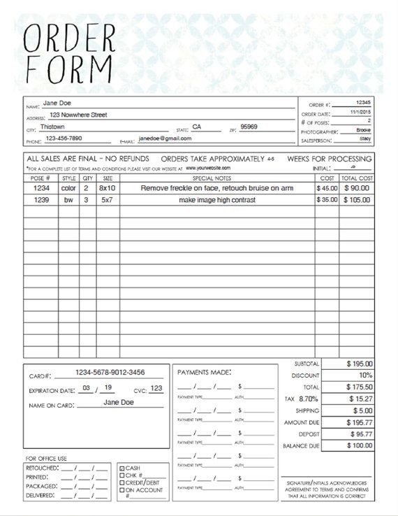 Photo order form Template Pdf General Graphy Sales order form Template