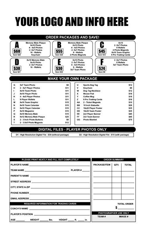 Photo order form Template Youth Sports Photography order form