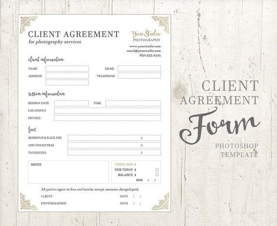 Photography Client Questionnaire Template Client Agreement form for Graphers Graphy