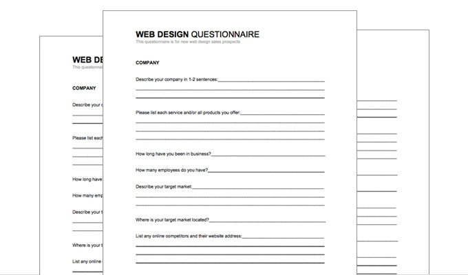 Photography Client Questionnaire Template Free Download New Web Design Client Questionnaire