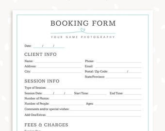 Photography Client Questionnaire Template Graphy forms Client Booking form for Grapher