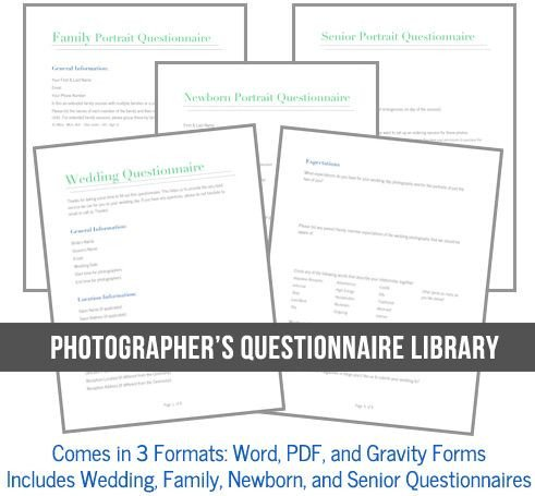 Photography Client Questionnaire Template Must Have Graphy Business tools
