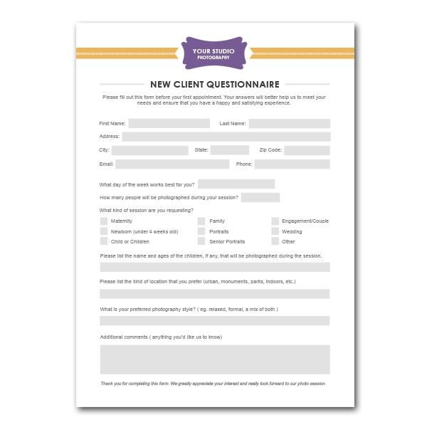 Photography Client Questionnaire Template New Client Questionnaire form Template for Graphers