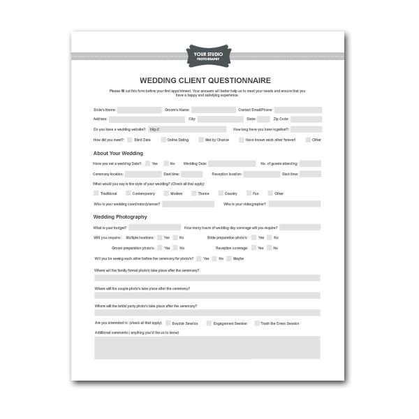 Photography Client Questionnaire Template Printable Sample Wedding Graphy Contract Template