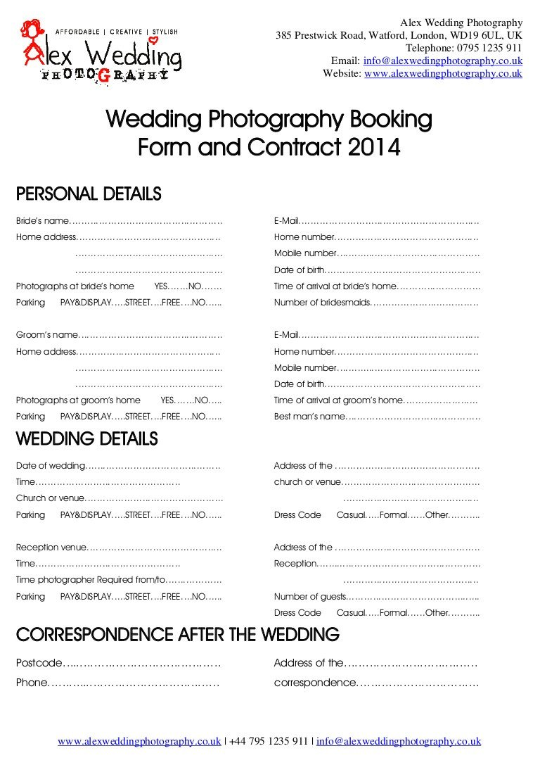 Photography Client Questionnaire Template Wedding Graphy Booking form and Contract 2014