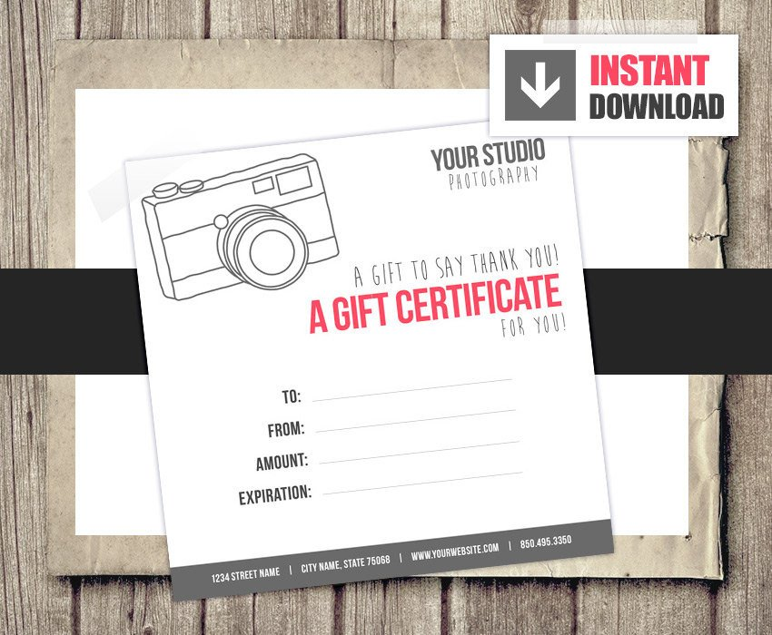 Photography Gift Certificate Template Gift Card Gift Certificate Template for Graphers Camera