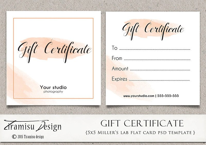 Photography Gift Certificate Template Graphy Gift Certificate Photoshop 5x5 Card Template