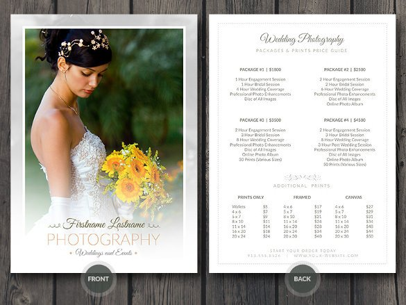 Photography Price List Template 38 Psd Wedding Templates Free Psd format Download