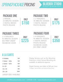Photography Price List Template Customize 610 Graphy Poster Templates