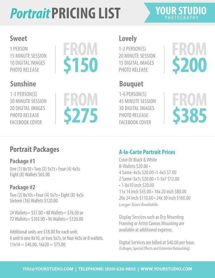 Photography Price List Template Graphy Package Pricing Grapher Price List