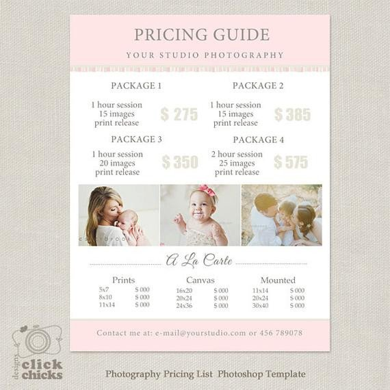 Photography Price List Template Graphy Package Pricing List Template Graphy