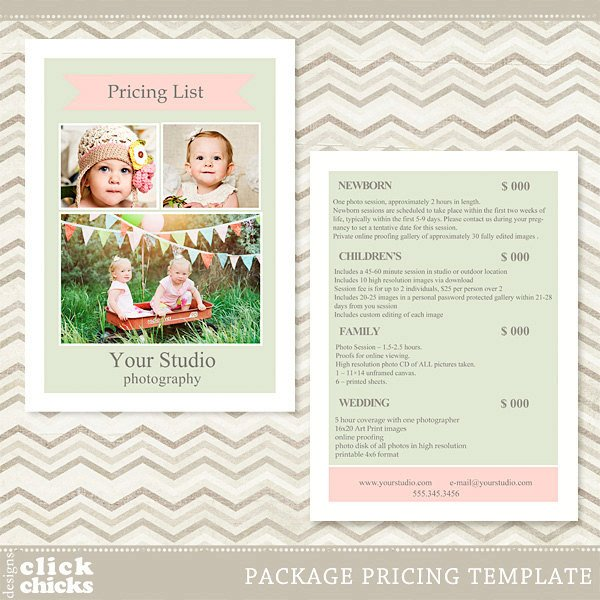 Photography Price List Template Graphy Package Pricing List Template Price List Price